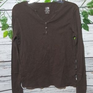 The North Face top button long sleeve shirt sz Lg